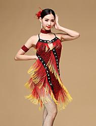 baratos -Dança Latina Vestidos Mulheres Espetáculo Náilon Chinês Viscose Leopardo Cristal / Strass Mocassim Sem Manga Natural Vestido Braceletes
