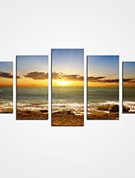 baratos -Laminado Impressão De Canvas Paisagem Lazer Modern Realismo, 5 Painéis Tela de pintura Horizontal Estampado Decoração de Parede Decoração