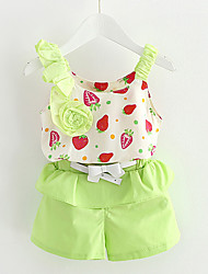 cheap -Baby Daily Solid Clothing Set-Cotton / Polyester-Summer-Green / Red