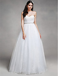 A-Line Sweetheart Chapel Train Tulle Wedding Dress with Beading Lace by LAN TING BRIDE®