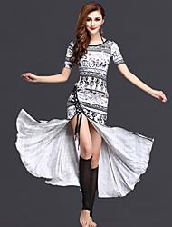 abordables -Danse du ventre Robes Femme Utilisation Fibre de Lait Motif / Impression Avant Fendu Manches courtes Taille moyenne Robe Short
