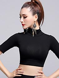 preiswerte -Latein-Tanz Tops Damen Vorstellung Modal Gefalten 1 Stück Halbe Sleeve Normal Top