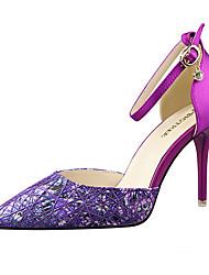 preiswerte -Damen Schuhe Satin Frühling Sommer Pumps High Heels Stöckelabsatz Schnalle Geflochtene Riemchen für Hochzeit Büro & Karriere Party &