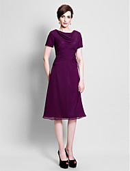 cheap -A-Line Cowl Neck Tea Length Chiffon Mother of the Bride Dress with Ruched Side Draping by LAN TING BRIDE®