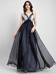 A-Line Spaghetti Straps Floor Length Organza Prom Formal Evening Dress with Lace by TS Couture®