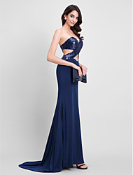 Mermaid / Trumpet Sweetheart Sweep / Brush Train Sequined Jersey Formal Evening Dress with Sequins by TS Couture®