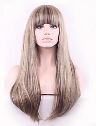 economico -Donna Parrucche sintetiche Senza tappo Lisci Kinky liscia Capelli schiariti parrucca nera costumi parrucche