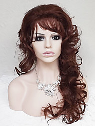 cheap -Synthetic Wig Curly / Deep Wave Asymmetrical Haircut / With Bangs Synthetic Hair Natural Hairline Brown Wig Women's Long Capless