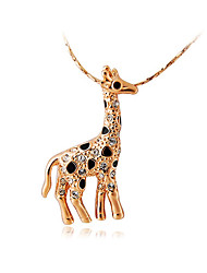 cheap -HKTC Women's Lovely Gift Jewelry18K Rose Gold Plated Alloy Decorated Giraffe Shape Pendant Design Necklace