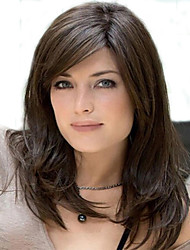 Capless Mix Color Long Length High Quality Natural  Straight Hair Synthetic Wigs with  Side Bang