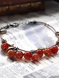 Fashionable Dark Red 19cm Round Strand Bracelets