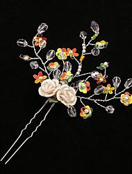 Damen Strass Messing Legierung Künstliche Perle Plastik Kopfschmuck-Hochzeit Haarklammer 1 Stück