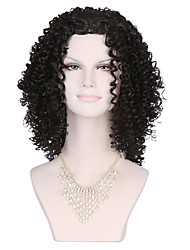 Top Quality Women's Fashionable Black color Medium Long Length Curly Wig with Free Bang