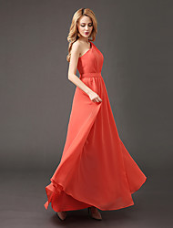 A-Line One Shoulder Floor Length Chiffon Bridesmaid Dress with Draping by Luoge