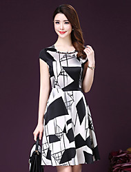 cheap -Women's Street chic Print Plus Size / Swing Dress,Round Neck Knee-length Silk / Polyester
