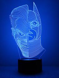Amazing 3D luce lllusion ha portato la lampada comodino con doppia forma del viso a forma di Batman con forma della maschera