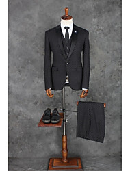 cheap -Black Patterns Tailored Fit Polyester Suit - Notch Single Breasted One-button