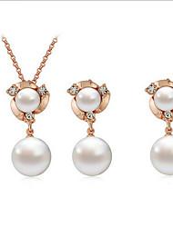 Women's Flower Shape Fashion Pearl Earrings Necklace Set