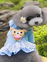 baratos -Cachorro Camisola com Capuz Vestidos Roupas para Cães Urso Azul Rosa claro Lã Polar Ocasiões Especiais Para animais de estimação Mulheres