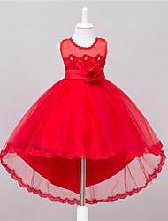 billiga -Klänning Flicka Utekväll Enfärgad, Polyester Sommar Ärmlös Blom Rosett Vit Röd Rosa