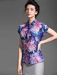 abordables -Baoyan® Mujer Cuello Camisero Manga Corta Camisa y blusa Morado-150275