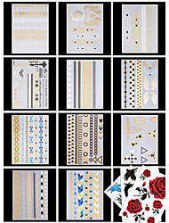 cheap -14 Pattern Lower Back Waterproof Metallic Jewelry Series Flower Series Tattoo Stickers