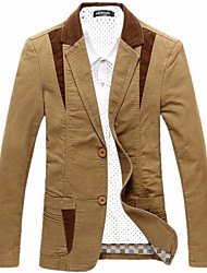 Men's Patchwork Casual / Work / Plus Sizes Blazer,Cotton / Acrylic Long Sleeve Black / Brown / Beige 916232