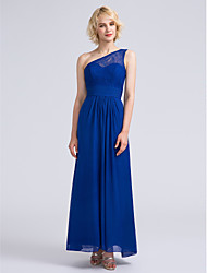 cheap -Sheath / Column One Shoulder Ankle Length Chiffon / Lace Bridesmaid Dress with Lace / Ruched by LAN TING BRIDE®