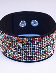cheap -Rhinestone Crystal Charm and Cool Sparkling Leather Bracelet 7 Color For Women