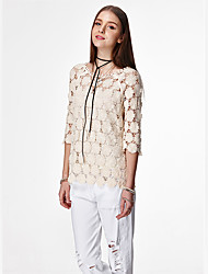 das mulheres heartsoul casual / diária simples / bonito blusa verão, em torno do pescoço sólido ¾ luva branca / algodão fina amarela