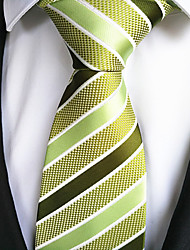 cheap -New Green Striped Men's Tie Formal Suit Necktie Wedding Holiday Gift TIE0010