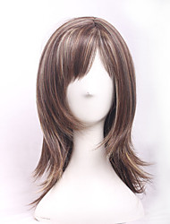 Beauty Natural Brown Blonde Colors Mixed Highlights Hair Medium Long Wave Sexy Heat Resistant Synthetic Wig