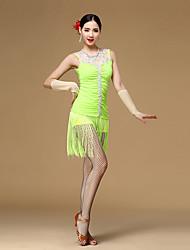 Dança Latina Vestidos Mulheres Actuação Viscose Plissado 3 Peças Sem Mangas Natural Vestido Luvas