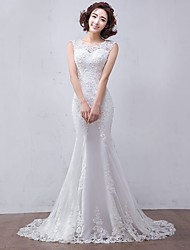 Mermaid / Trumpet Jewel Court Train Tulle Wedding Dress with Beading by LAN TING BRIDE®