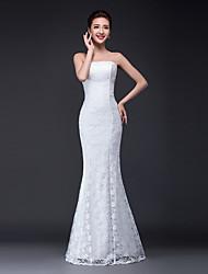 sirena / tromba senza spalline lunghezza del pavimento del merletto del vestito da cerimonia nuziale con il merletto da parte dell'amante