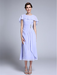 cheap -Sheath / Column Jewel Neck Tea Length Chiffon Mother of the Bride Dress with Crystal Detailing by LAN TING BRIDE®