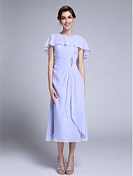 baratos -Tubinho Decorado com Bijuteria Longuette Chiffon Vestido Para Mãe dos Noivos - Detalhes em Cristal de LAN TING BRIDE®