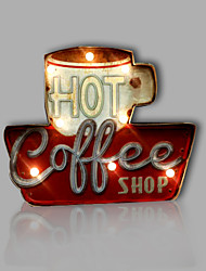 cheap -E-HOME® Metal Wall Art LED Wall Decor, HOT COFFEE LED Wall Decor One PCS