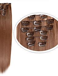 Недорогие -дешевый продукт волос синтетический # 12 светло-коричневый 22inch 100g 7pcs / комплект зажима в синтетики синтетических волос Extentions
