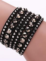 abordables -Femme Bracelets Bracelets en cuir Cuir Strass Imitation de diamant Alliage Mode Bohême Adorable Forme GéométriqueViolet Jaune Rouge Bleu