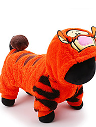 cheap -Cat Dog Costume Jumpsuit Dog Clothes Cartoon Orange Plush Fabric Costume For Pets Men's Women's Cute Holiday Cosplay