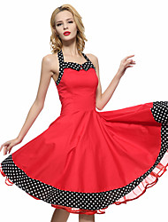 cheap -Women's Lace up/Backless Red/Black Vintage Polka Dots Midi Swing Dress,Full Circle Halter
