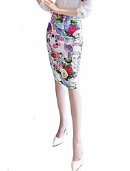 cheap -Women's Plus Size Going out Knee Length Skirts, Sexy Street chic Bodycon Cotton Floral Summer
