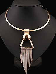 cheap -Women's Choker Necklace / Statement Necklace  -  Sterling Silver Tassel, European, Fashion Silver, Golden Necklace For Party, Daily, Casual