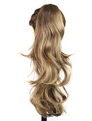 Недорогие -Парики из искусственных волос Жен. Волнистый Блондинка С конским хвостом Искусственные волосы Блондинка Парик Без шапочки-основы Блондинка