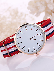 Korean Style Fabric Band White Case Analog Quartz Watch Jewelry for Men/Women