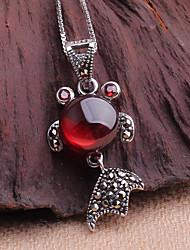 1 sets of fashion folk style garnet S925 Sterling Silver Pendant Necklace