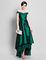 cheap -A-Line Off Shoulder Asymmetrical Chiffon Taffeta Mother of the Bride Dress with Beading Bow(s) Pick Up Skirt Ruffles by LAN TING BRIDE®