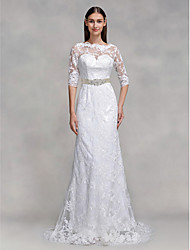 cheap -Mermaid / Trumpet Illusion Neckline Sweep / Brush Train Lace Custom Wedding Dresses with Lace by LAN TING BRIDE®