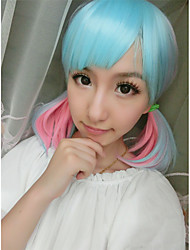 Cosplay Anime Wig Light Blue Mix Pink Color Cute Beautiful Party Wig on Sale